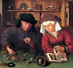 Moneylender and his wife - Quentin Massys 1514